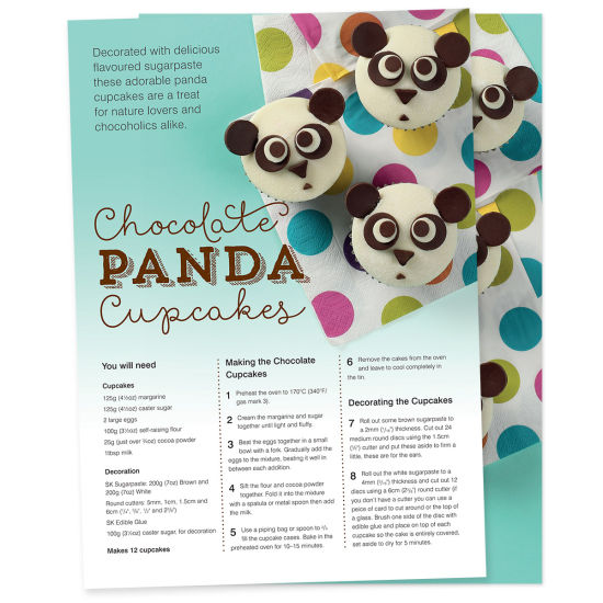 Chocolate Panda Cupcake Project Sheets