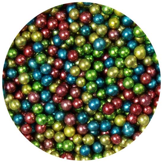 Scrumptious Sugar 4mm Pearls Rainbow Dark Metallic Mix 80g