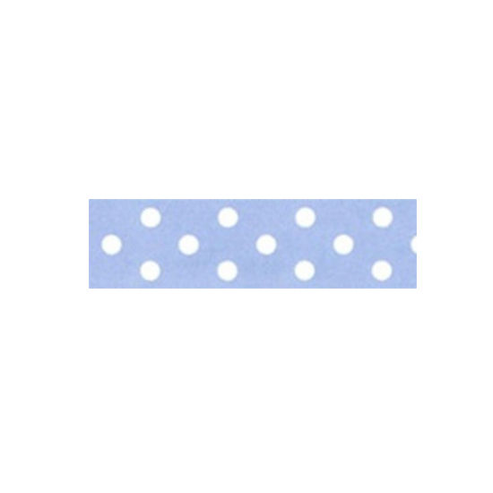 Dotty Satin Ribbon Baby Blue 25mm