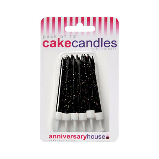 Glitter Candles Pack of 12 - Black