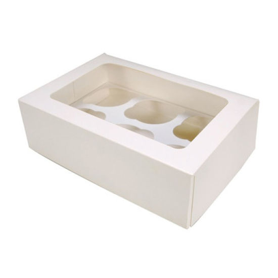 White 6 Hole Cupcake Box - Pack of 25