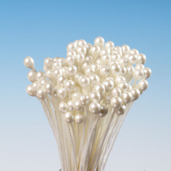 Cream Pearl Round Head Stamens  - Small