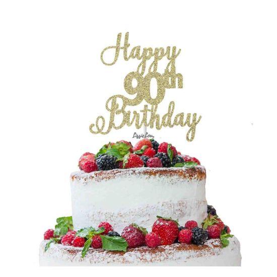 LissieLou Happy 90th Birthday Pretty Cake Topper Glitter Card Gold