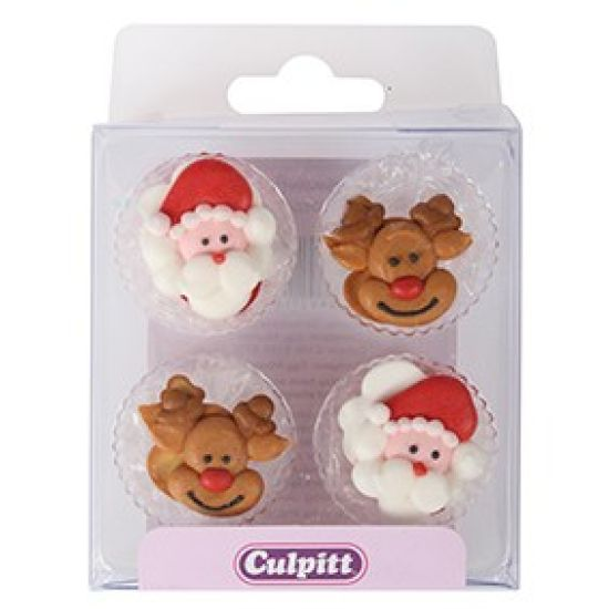Santa & Rudolph Sugar Pipings Set of 12