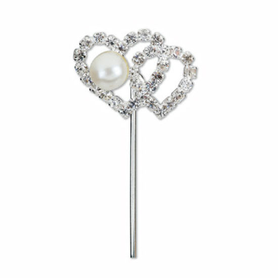 Diamante Pearl Double Heart on Stem
