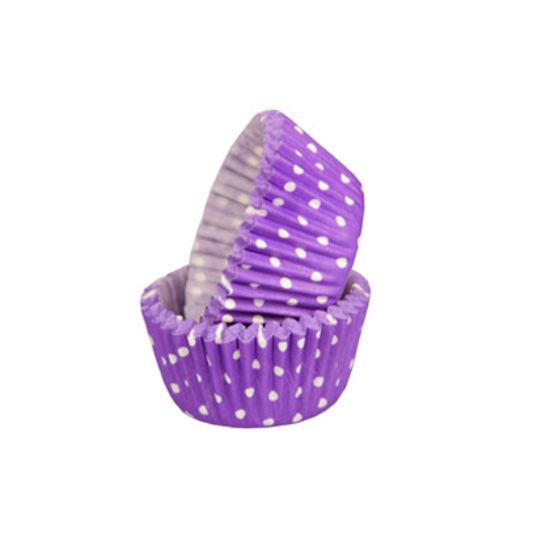 SK Mini Cupcake Cases Polka Dot Pure Lavender - Bulk Pack of 500
