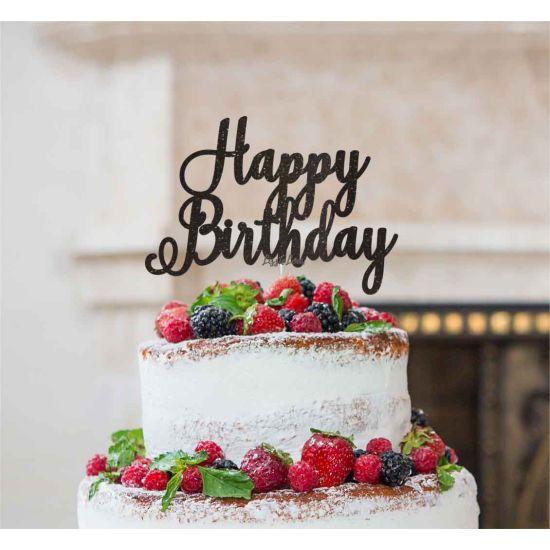 LissieLou Happy Birthday Pretty Cake Topper Glitter CardBlack