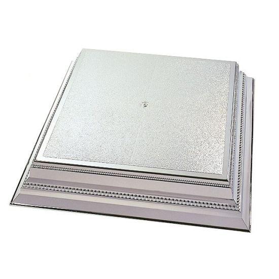 Silver Square Plastic Cake Stand 14 Inch