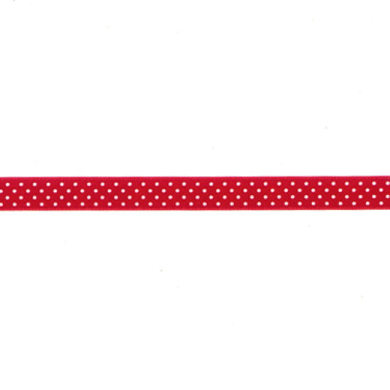 Dotty Satin Ribbon Red 15mm