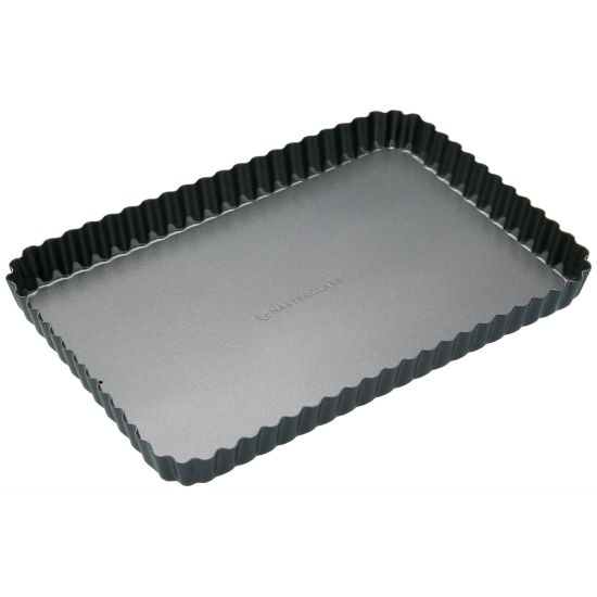 MasterClass 31x21cm Loose Base Rectangular Fluted Flan / Quiche Tin