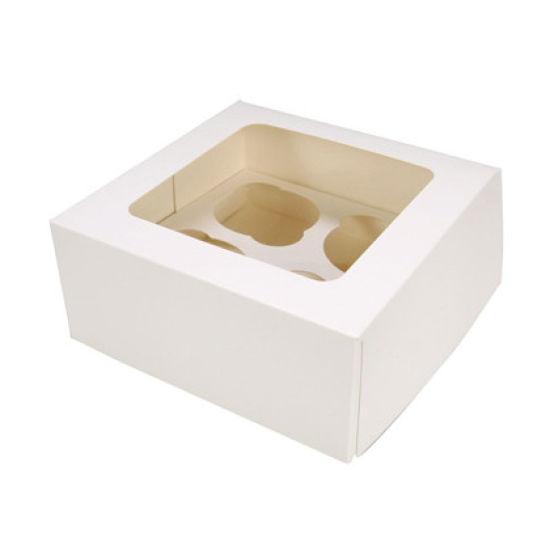 White 4 Hole Cupcake Box