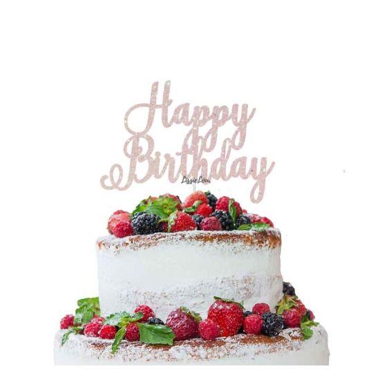 LissieLou Happy Birthday Pretty Cake Topper Glitter CardWhite
