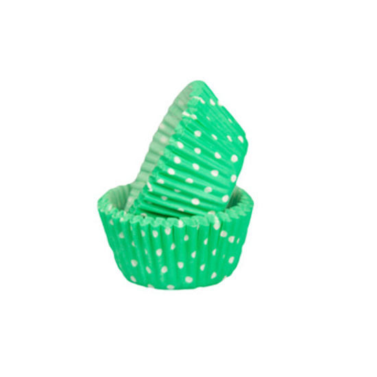 SK Mini Cupcake Cases Polka Dot Bright Jade - Bulk Pack of 500