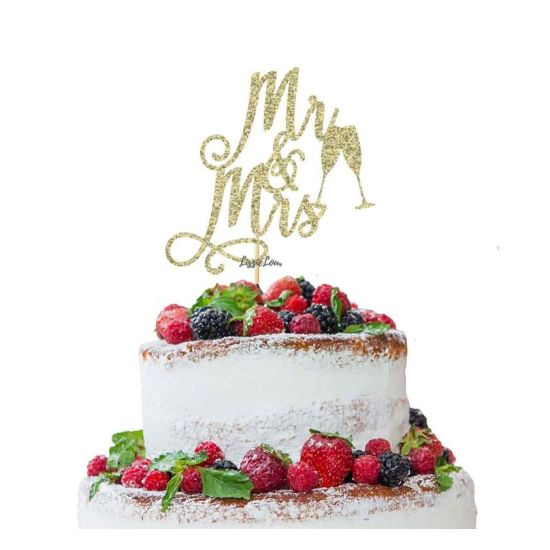 LissieLou Mr and Mrs Swirly with Champagne Glasses Cake Topper Glitter CardGold