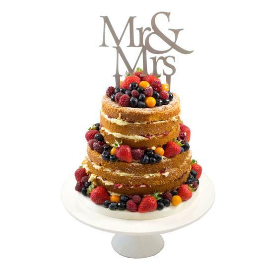 Mr & Mrs Cake Topper - Silver