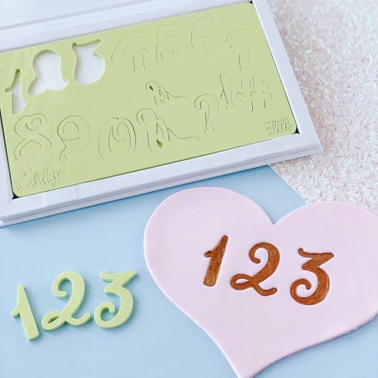 Sweet Stamp Curly Numbers Embossing Set