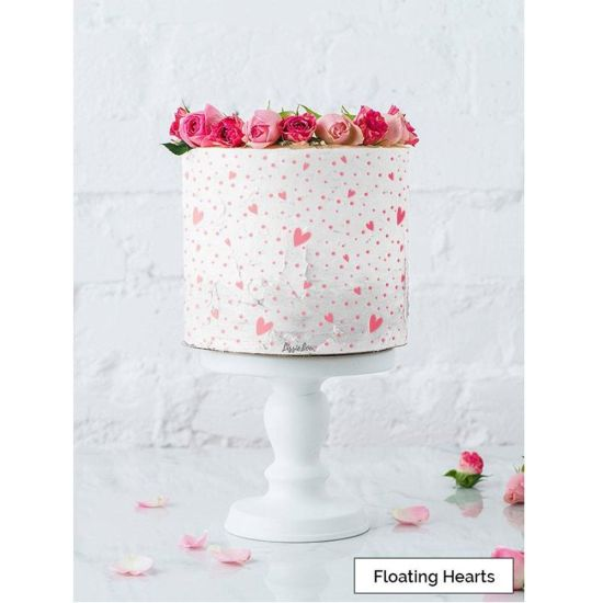 LissieLou Floating Hearts Cake Stencil Full Size Design