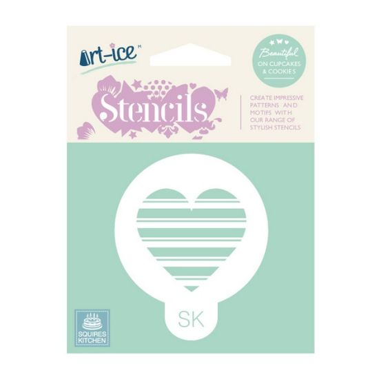 SK Art-ice Round Stencil Striped Heart