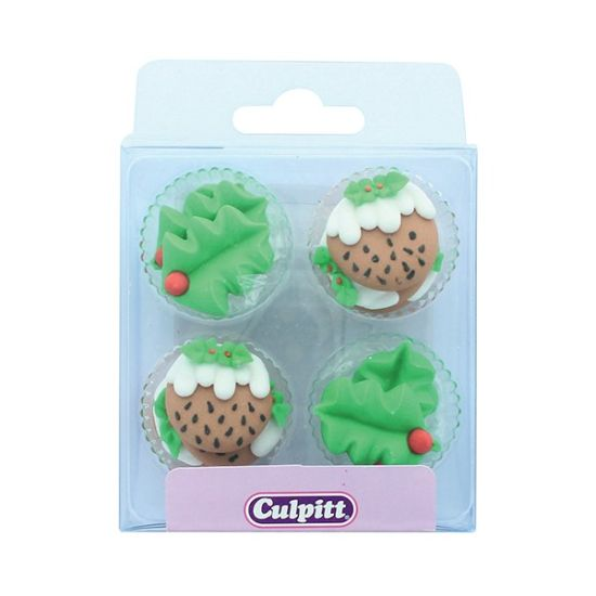 Holly & Christmas Pudding Sugar Decorations Set of 12