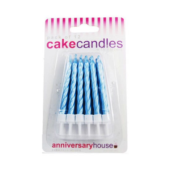 Pearlescent Spiral Candles Pack of 12 - Blue