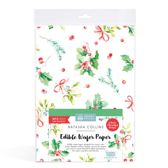 SK Edible Wafer Paper by Natasha Collins: Holly & Baubles