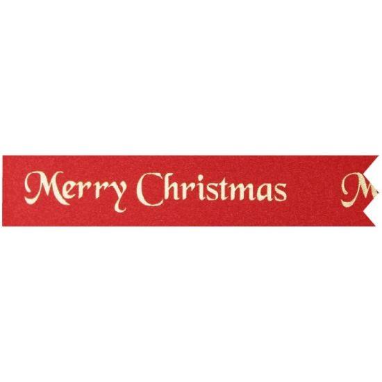 Red Satin Merry Christmas Ribbon 25mm