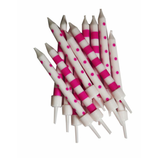 Stripe & Spot Candles Pack of 12 - Pink & White