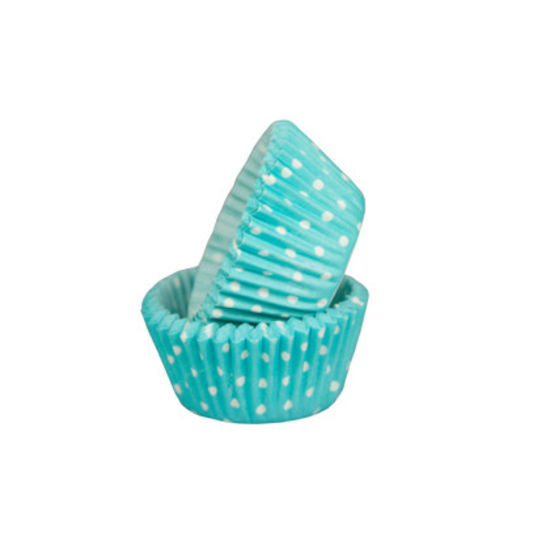 SK Mini Cupcake Cases Polka Dot Turquoise - Bulk Pack of 500