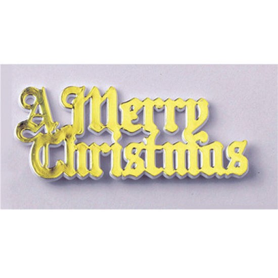 Gold Plastic Merry Christmas Motto