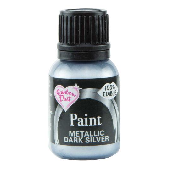Rainbow Dust Metallic Food Paint - Dark Silver 25ml