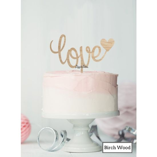 LissieLou Love with Heart Cake Topper Premium 3mm Birch Wood