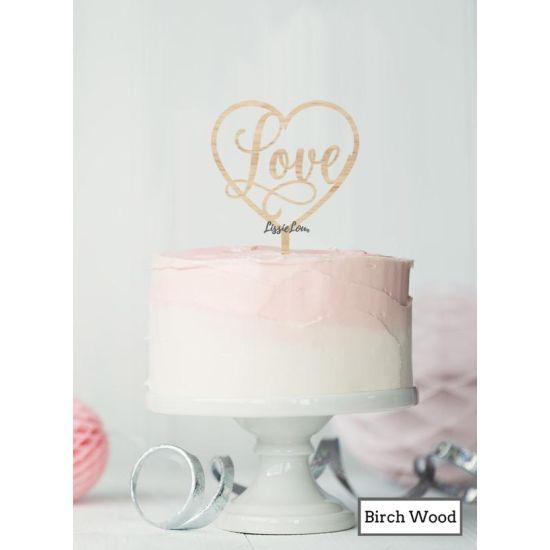LissieLou Love in a Heart Cake Topper Premium 3mm Birch Wood