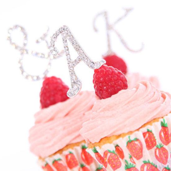 Diamante Letter Cake Picks - T