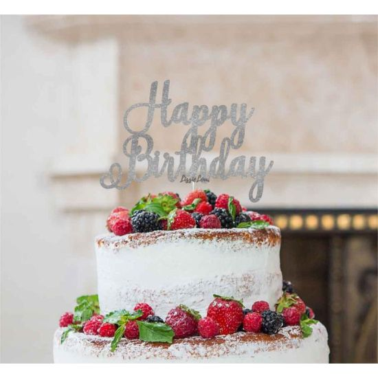 LissieLou Happy Birthday Pretty Cake Topper Glitter Card Silver