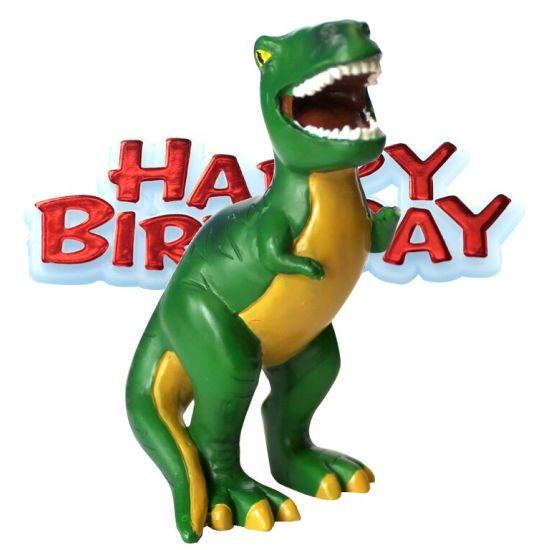 Resin Dinosaur & Happy Birthday Cake Topper